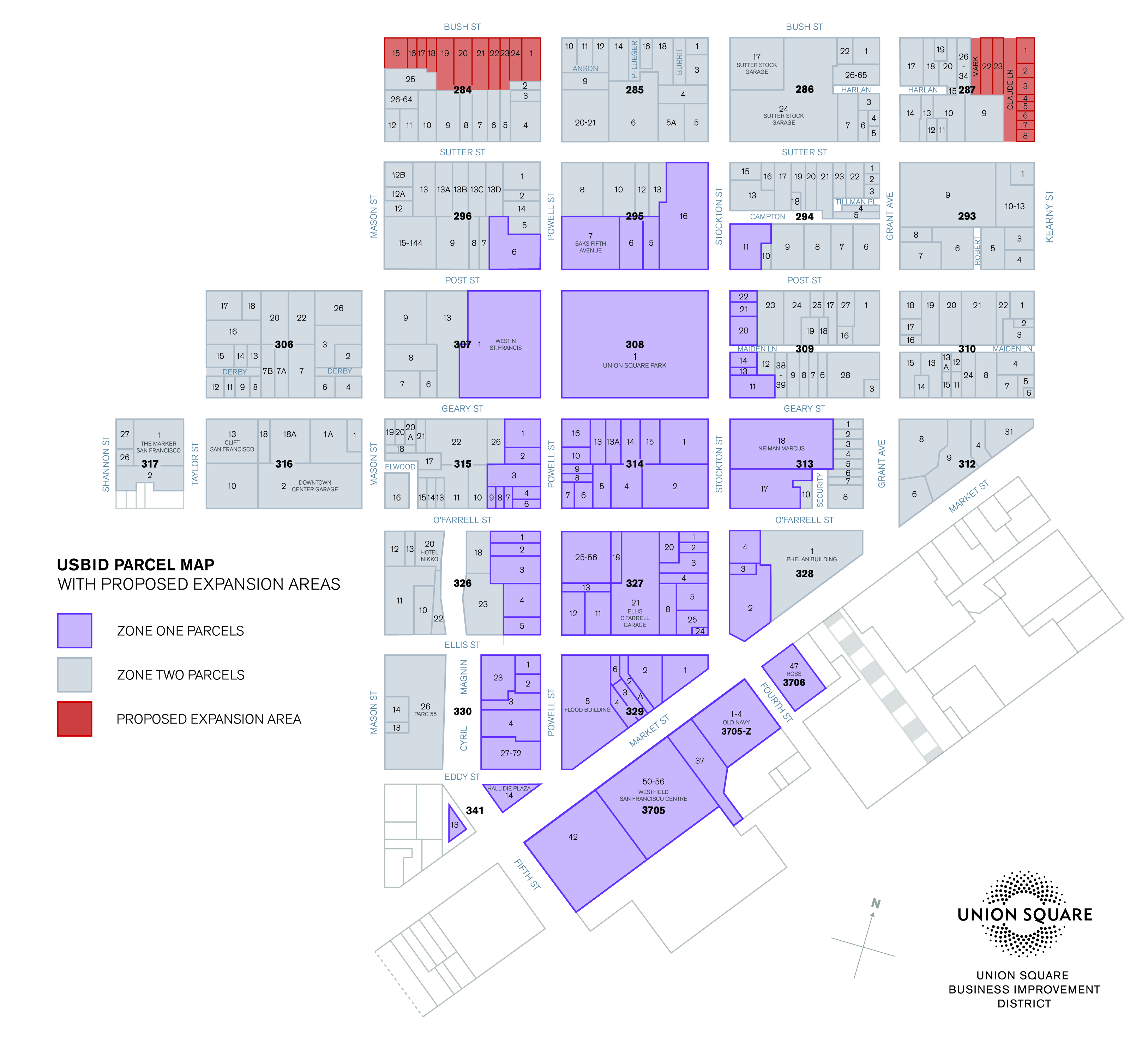 Map for USBID Proposed Expansion Area with District Zoning