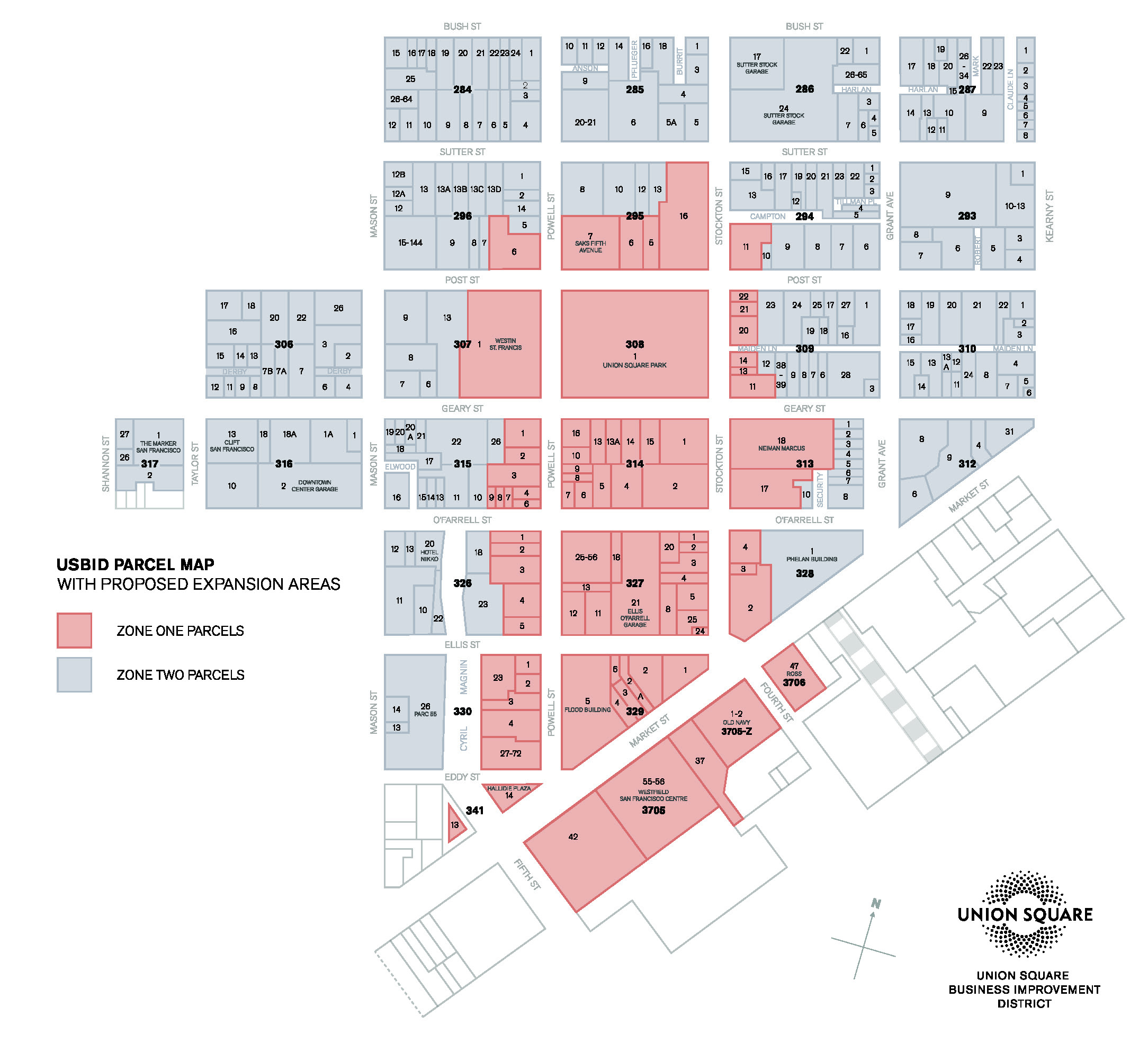 Union Square BID's District Boundary Map with Service Zones Post-Renewal