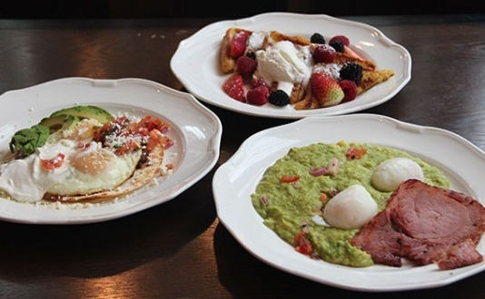 Green Eggs and Ham, Huevos Rancheros and Almond French Toast from 398 Brasserie