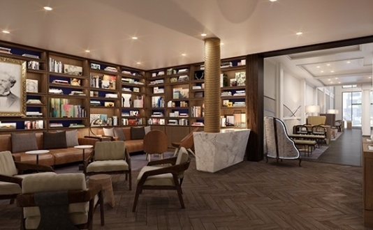 Inside the Axiom Hotel library