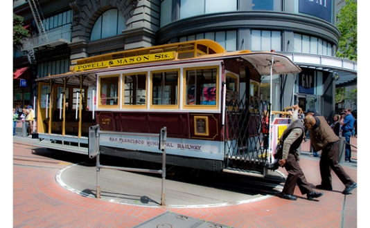 The Cable Car Turn Around in Union Square SF