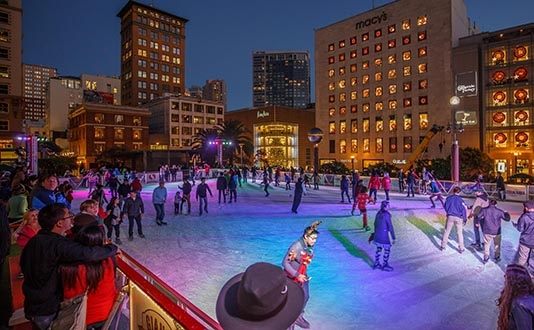 The Holiday Ice Rink in Union Square, San Francisco