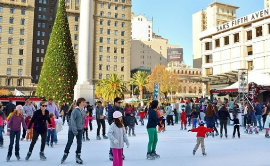 The Safeway Holiday Ice Rink in Union Square San Francisco