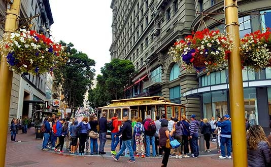 The Cable Car Turnaround in Union Square, SF