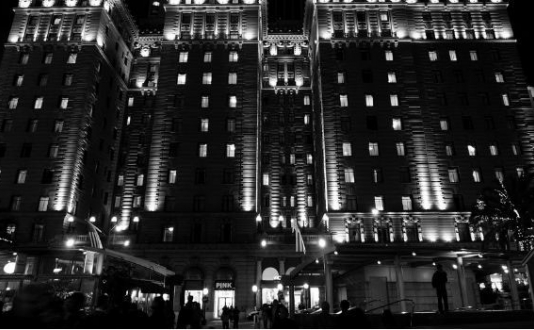 Image of the Westin St. Francis Hotel at night in Union Square San Francisco
