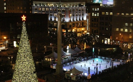 Union Square Ice Rink and Tree