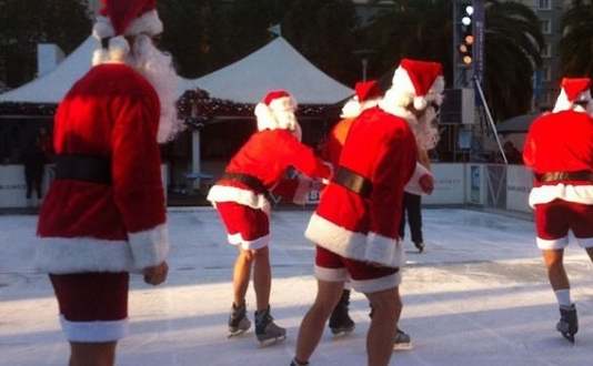 Union Square Holiday Ice Rink with Santas