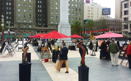 Red Umbrellas at Union Square, San Francisco
