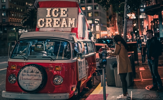 SF Hometown Creamery Ice Cream Truck parked on the Sidewalk on 281 Geary Street.