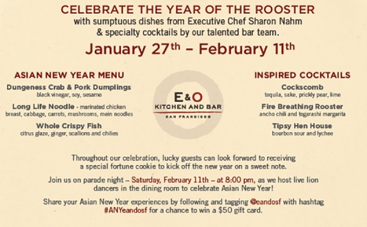 Celebrate the Year of the Rooster at E&O Kitchen and Bar in Union Square, San Francisco