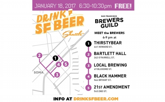 Drink SF Beer Shuttle, Meet the Brewers at Bartlett Hall in Union Square, San Francisco
