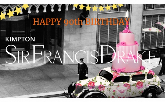 Sir Francis Drake's 90th birthday Afternoon Tea in the Starlight Room in Union Square, San Francisco