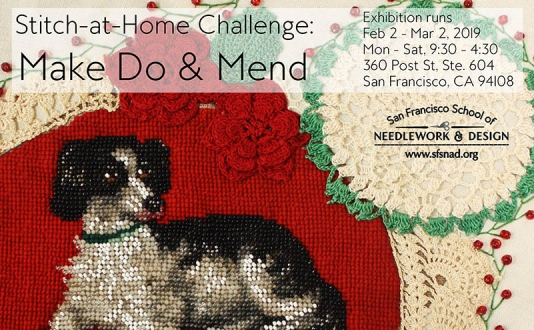 Stitch-at-Home Challenge: Make Do & Mend Exhibition at the San Francisco School of Needle Work and Design in Union Square, San Francisco