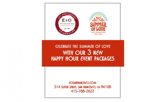 Enjoy E&O Kitchen and Bar's New Happy Hour Group Event Packages! at E&O Kitchen and Bar in Union Square, San Francisco