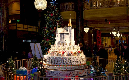 Westin St. Francis Holiday Sugar Castle Display in Union Square, San Francisco