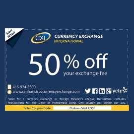 Save 50% Off Your Exchange Fee at Current Exchange International in Union Square, San Francisco