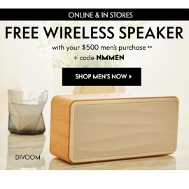 Free Wireless Speaker with Purchase (Code: NMMEN) at Neiman Marcus in Union Square, San Francisco