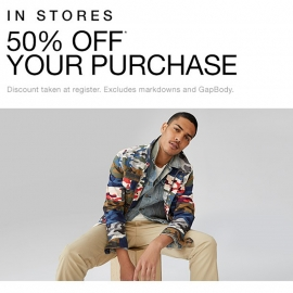 50% OFF Your Purchase at GAP in Union Square, San Francisco