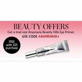 FREE Trial-size Anastasia Beverly Hills Eye Primer when You Spend $25.00+ (Code: ABHPRIMER)