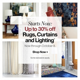 Starts Now: Up to 30% OFF Rugs, Curtains, and Lighting! at Crate and Barrel in Union Square, San Francisco