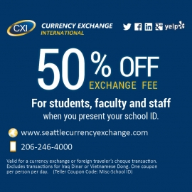 Students Save 50% Today! at Currency Exchange International at Westfield San Francisco Centre in Union Square, San Francisco