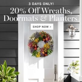 20% OFF Wreaths, Doormats, and Planters at Williams Sonoma in Union Square, San Francisco