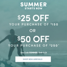 Summer Starts Now: $25 off $150 or $50 off $250! (Code: SUMMER) at Athleta in Union Square, San Francisco