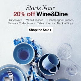 20% Off Wine and Dine at Crate and Barrell in Union Square, San Francisco