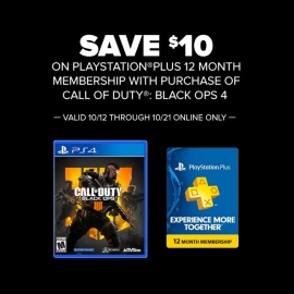 Save $10 on PS+ Membership with CoD: Black Ops 4! at GameStop in Union Square, San Francisco