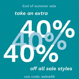 End of Summer Sale: Take An Extra 40% (Code: extra40)